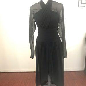 Lilly Rubin Black Sheer Sleeve Hi-lo Dress